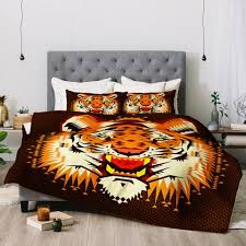Tiger Comforter Set Chobopop Geometric Tiger Deny Designs