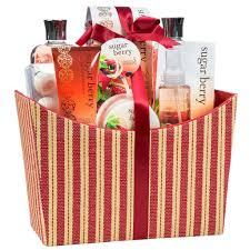 Bath Gift Basket Amazon Com Sugar Berry Spa Bath Gift Set In A Red Tan Tapestry