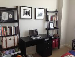 Guest Bedroom And Office - how to decorate this leaning bookshelf in guest bedroom office