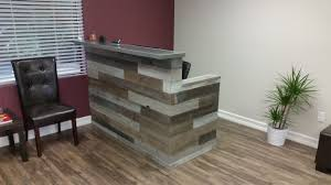 Custom Made Reception Desk with Hand Made Reclaimed Wood Multi Tone Reception Desk By Genuine
