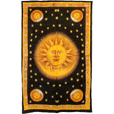 Wiccan Home Decor Gold Sun And Moon Cotton Wall Hanging Wicca Dorm Bedspread