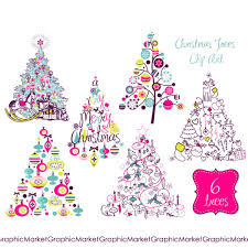christmas tree clip art clipart digital set card retro