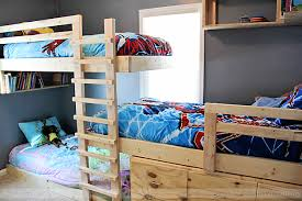 Wooden Bunk Bed Plans Free by Saving Space And Staying Stylish With Triple Bunk Beds