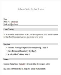 Software Testing Resume Samples For Freshers by 43 Professional Fresher Resumes