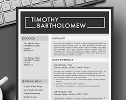 Bold Resume Template by Masculine Bold Resume Template Instant For Use With