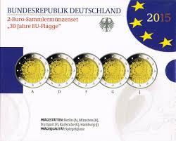 The European Flag Germany 2 Euro Coins Set 2015 30th Anniversary Of The European