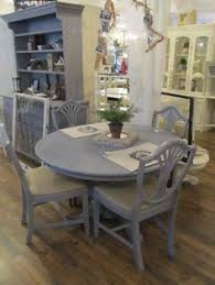 Love The Light Grey Washed Table With The Black Chairs For The - Grey dining room sets