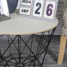 wire and wood basket side table black metal wire basket wooden top side table melody maison