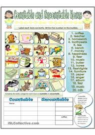 Countable And Uncountable Worksheet For Grade 2 Bienvenidos A Primaria 4º Countable And Uncountable Nouns