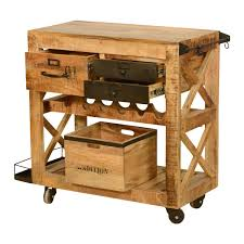 rolling solid wood and iron wine rack cabinet serving cart