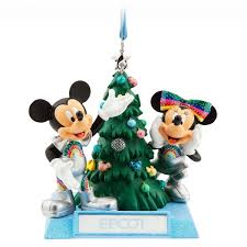 mickey and minnie mouse ornament epcot shopdisney