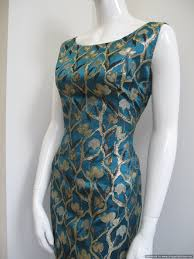 vintage cocktail 1960 s teal blue satin brocade vintage cocktail dress sold