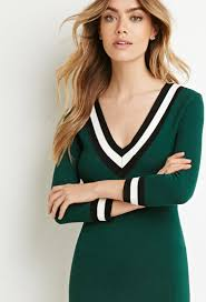 forever 21 varsity striped sweater dress in green lyst