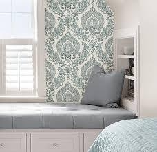 nuwallpaper nu1702 kensington damask blue peel stick wallpaper nuwallpaper nu1702 kensington damask blue peel stick wallpaper amazon com