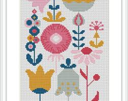 modern cross stitch pattern pdf hedgehog in pink and green