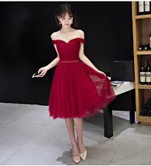 elegant prom dress off shoulder prom dress knee length prom gown
