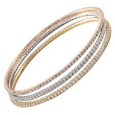 yellow bangle bracelet images Trio of white yellow and rose gold slip on diamond bangles for jpg