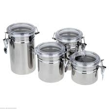 4pcs stainless steel canister spice storage jar set kitchen cans
