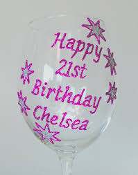 birthday wine personalised 21st birthday gift wine glass champagne flute stars