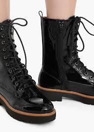 Lace Up Patent Effect Boots Women Mango Usa