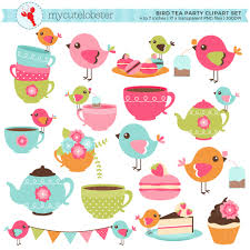 Das Schlafzimmer Clipart Bird Tea Party Clipart Set Clip Art Set Vögel Teetassen Maylas 1