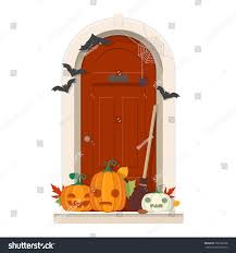 halloween door decorations front door halloween stock vector