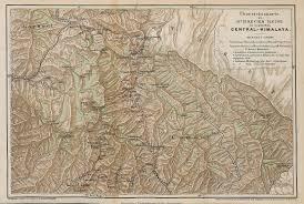 Himilayas Map Travels In Kumaon And Garhwal Himalayas 1890