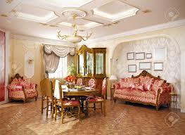 Luxury Livingroom Luxury Classic Style Interior Of Living Room 3d Rendering Stock