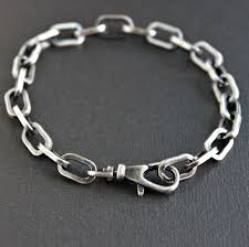 silver chain bracelet men images Men 39 s cable chain bracelet large link oxidized sterling silver jpg