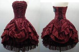 2015 strapless red corset dress gothic short ball gown