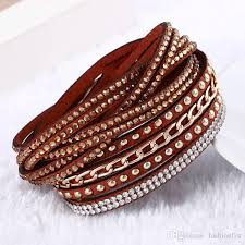 crystal leather wrap bracelet images Women new fashion pu leather wrap wristband cuff punk rhinestone jpg