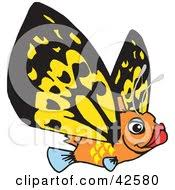 clipart of a retro purple flying fish royalty free vector