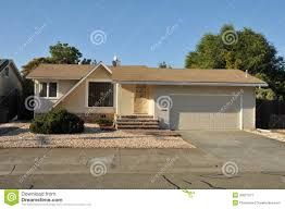 Single Story House Single Family House One Story With Driveway Royalty Free Stock