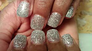 how to silver glitter color acrylic nails tutorials youtube