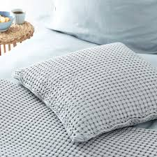 Cotton Quilted Bedspread Veiros Cotton Quilt Light Grey Waffle Design