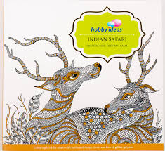 buy hobby ideas indian safari colouring book for adults with set