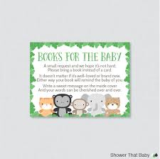 jungle theme baby shower printable bring a book instead of a