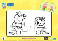 peppa pig beach coloring printable coloring pages