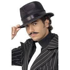 mens black 1920s indestructible fedora fancy dress hat 25625