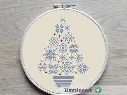 cross stitch christmas tree snowflakes blue grey and red