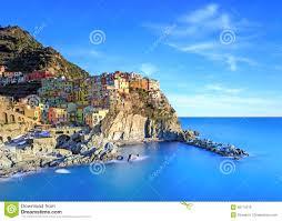 Cinque Terre Italy Map Manarola Village Rocks And Sea At Sunset Cinque Terre Italy