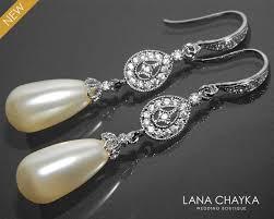 Chandelier Pearl Earrings For Wedding Bridal Pearl Chandelier Earrings Swarovski Ivory Teardrop Pearl