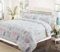 twin 3 piece bedding girls comforter bed set paris eiffel tower