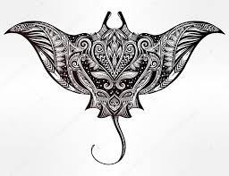 stingray in maori tribal ornament decor stock vector katja87