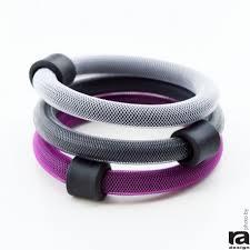 bracelet rubber images Set of 3 bracelets colour netcord and rubber white gray pink jpg