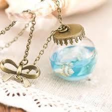 glass bottle necklace pendant images Blue sea glass bottle necklace jpg