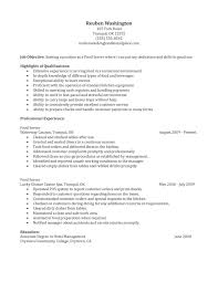 Fascinating Great Resume Objective Examples by Server Resume Resume For Study