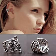 one ear earring 1x fashion unisex silver hollow out u pattern cuff wrap ear