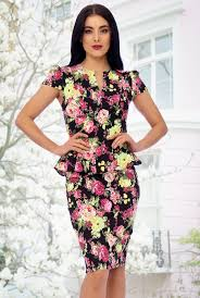 50s carry floral peplum dress in black