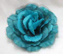 turquoise flowers oversized turquoise blue and black sheer hair flower clip pin